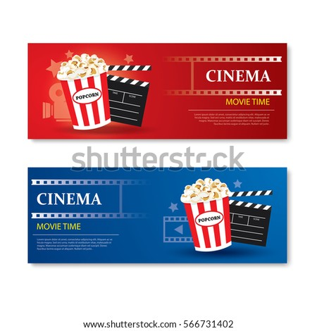 Movie time banner and coupon.Cinema template card element design.