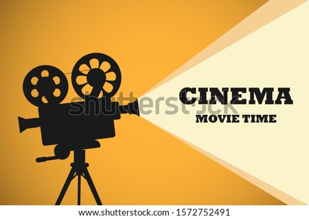 Movie time concept. Template for cinema poster, banner. Illustration of film projector, vector