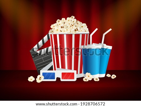 Movie time, great design for any purposes. Realistic cinema movie poster template. 3d banner background.