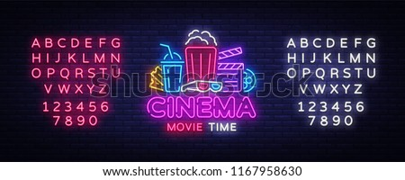 Movie Time Neon Logo Vector. Cinema Night neon sign, design template, modern trend design, night neon signboard, night light advertising, light banner, light art. Vector. Editing text neon sign