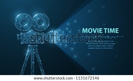 Movie time. Polygonal wireframe movie projector show film at night on dark blue with stars in him light. Cinema, movie, festival or other concept illustration or background