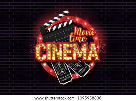 Movie time poster. Cinema banner with clapboard and tickets. Vector illustration.