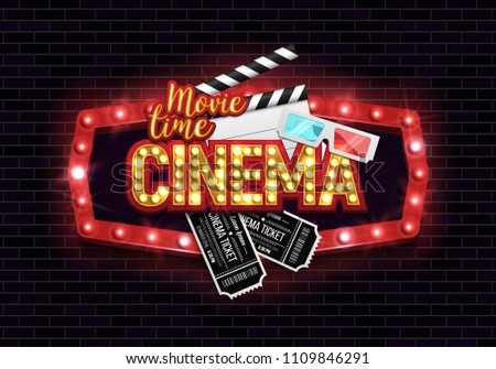 Movie time poster. Cinema banner with clapboard, tickets and 3d glasses. Vector illustration.