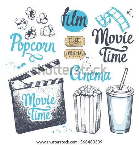 movie time vector illustration