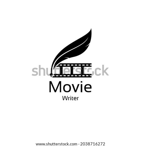 movie writer cinema film production with filmstrip and quill feather pen logo design Сток-фото ©