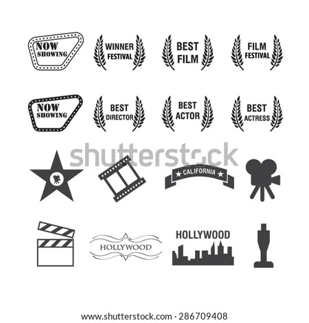movies and film icons set vector