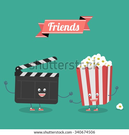 Постер, плакат: Movies and popcorn friends, холст на подрамнике