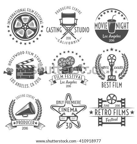 movies black white emblems set