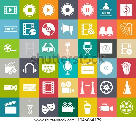 Movies vector illustration icon set. Included the icons as camera, film, awards, entertainment - Shutterstock ID 1046864179