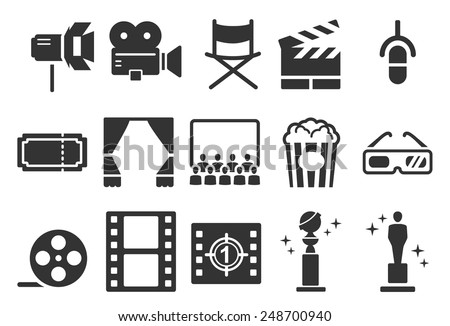 Movies vector illustration icon set. Included the icons as camera, film, awards, entertainment, popcorn, 3d and more.