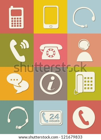 movil icons over vintage...