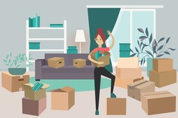 moving a young girl to another apartment. the woman goes to another city. the student moves to a new home. the interior of the apartment is filled with boxes.