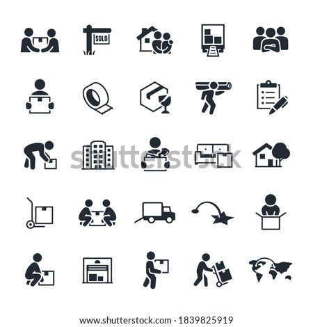 Moving and Relocation Icons stock illustration. movers, people moving, carrying boxes, new home, moving truck, packing materials, checklist, business, moving office, furniture, dolly.