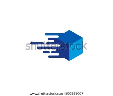 Moving Box Fast Box Logo Design Template