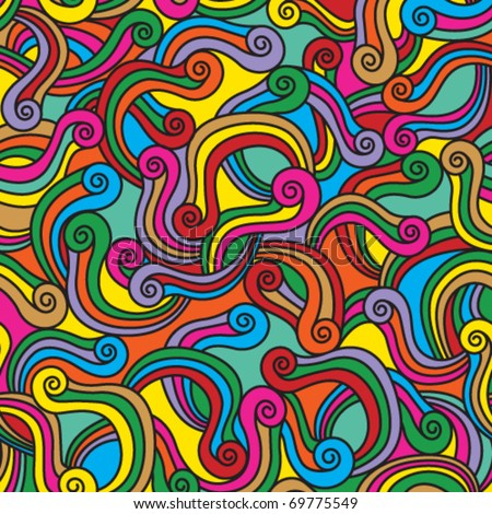 Moving colorful spirals seamless pattern