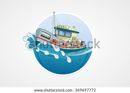 moving fishing boat deep sea