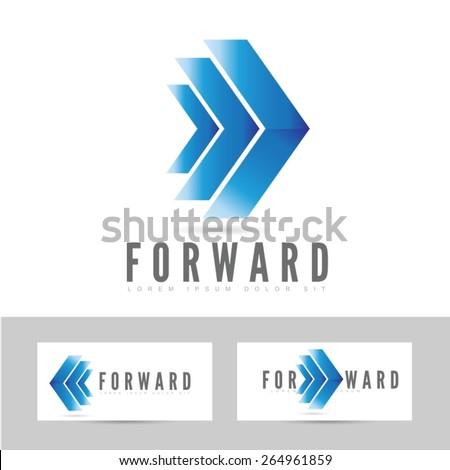 Moving forward blue logo arrow concept design