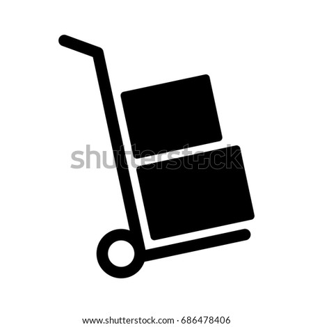Moving hand truck or dolly with boxes flat vector icon for apps and websites