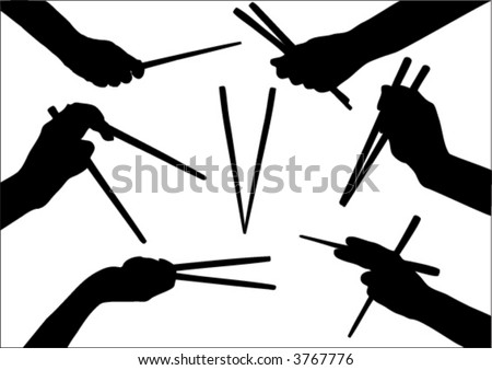 stock vector : moving hand with chopstick