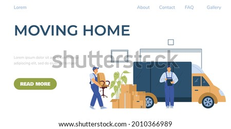 Moving Home company web banner template with loaders or movers loading van, flat vector illustration. Moving and relocation porters services web page mockup. Foto stock ©