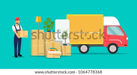 Moving House. Man with cardboard boxes.Vector flat style illustration Photo stock ©