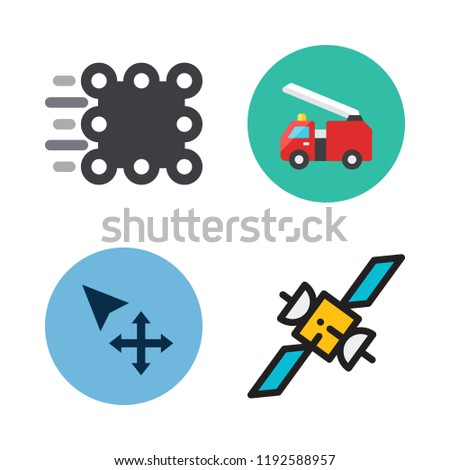 moving icon set. vector set about move, van, match moving and fire truck icons set.