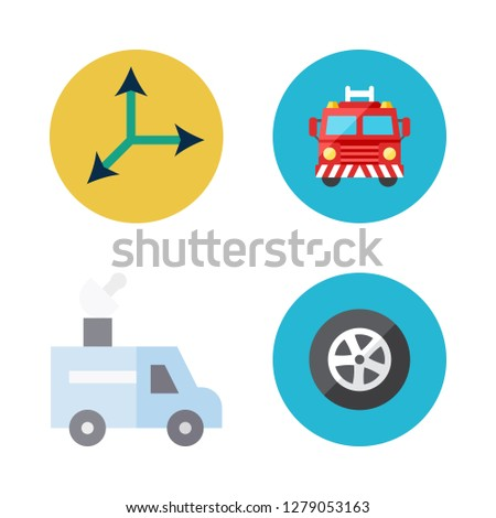 moving icon set. vector set about van, fire truck, move and tire icons set.