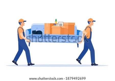 Moving service and delivery company. Delivery character man movers carry sofa with big carton cardboard box. Delivery and relocation service concept. Vector illustration in flat style Foto stock ©