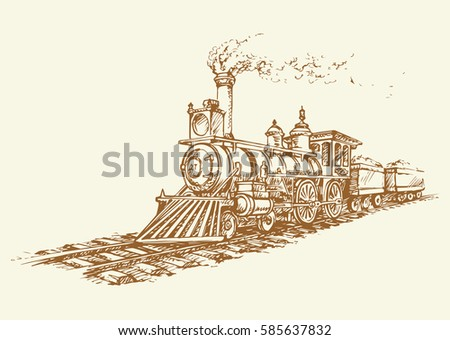 moving steam engine isolated on ...