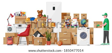 Moving to new house. Family relocated to new home. Male mover, paper cardboard boxes with goods. Package for transportation. Electronics, clothes, home appliances, furniture. Flat vector illustration Photo stock ©