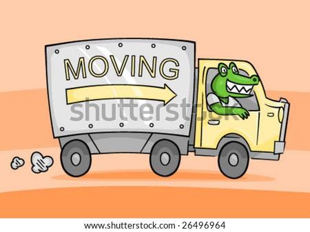 Moving Truck Driven By Cartoon Gator Stock Vector Illustration 26496964 Shutterstock