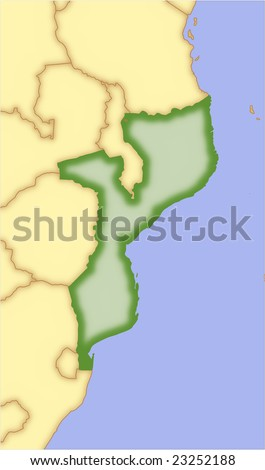 Mozambique, vector map, with borders of surrounding countries. 5 named layers, fully editable.
