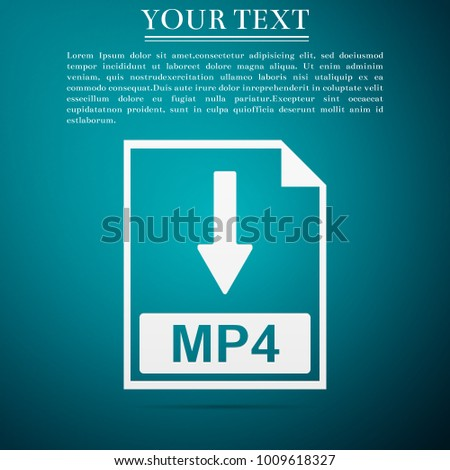 MP4 file document icon. Download MP4 button icon isolated on blue background. Flat design. Vector Illustration