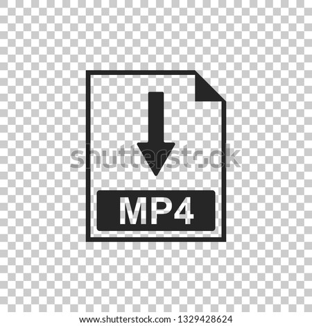 MP4 file document icon. Download MP4 button icon isolated on transparent background. Flat design. Vector Illustration