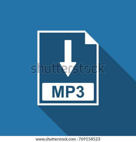 MP3 file document icon. Download MP3 button icon isolated with long shadow. Flat design. Vector Illustration