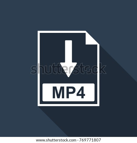 MP4 file document icon. Download MP4 button icon isolated with long shadow. Flat design. Vector Illustration