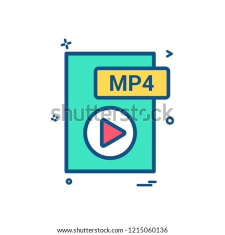 mp4 file format icon vector design