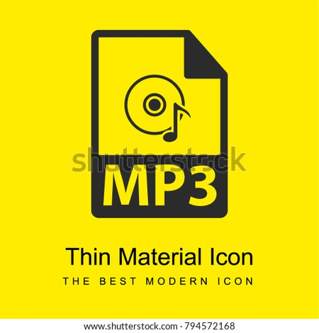 MP3 file format variant bright yellow material minimal icon or logo design