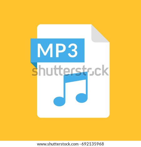 MP3 file icon. Audio document type. Modern flat design graphic illustration. Vector MP3 icon
