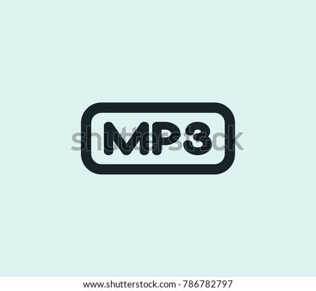 Mp3 file icon line isolated on clean background. Multimedia concept drawing icon line in modern style. Vector illustration for your web site mobile logo app UI design.