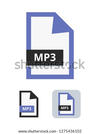 mp3 file vector icon. Symbol of MP3 digital audio format for songs and sounds. Symbol is isolated on a white background.