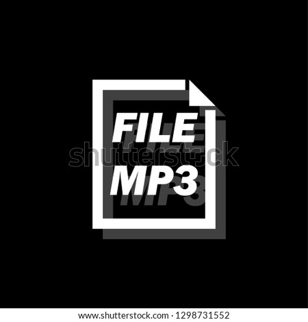 MP3 File. White flat simple icon with shadow