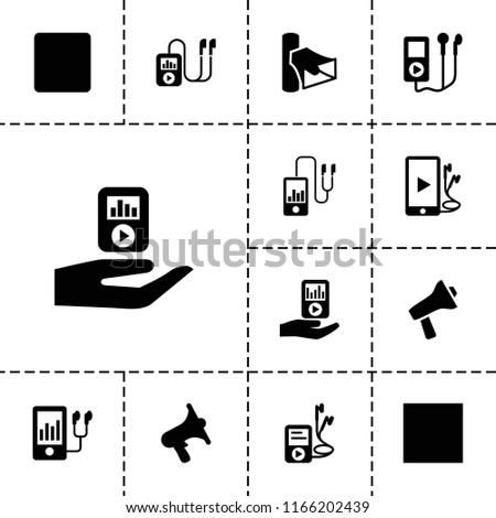 Mp3 icon. collection of 13 mp3 filled icons such as volume, stop. editable mp3 icons for web and mobile.