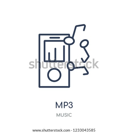Mp3 icon. Mp3 linear symbol design from music collection. Simple outline element vector illustration on white background