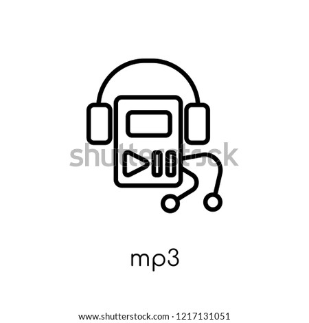 mp3 icon. Trendy modern flat linear vector mp3 icon on white background from thin line collection, outline vector illustration