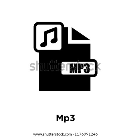 Mp3 icon vector isolated on white background, logo concept of Mp3 sign on transparent background, filled black symbol