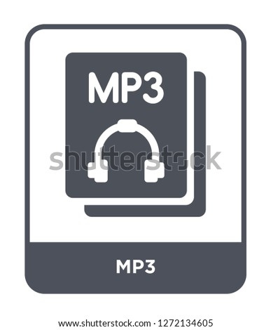 mp3 icon vector on white background, mp3 trendy filled icons from File type collection, mp3 simple element illustration