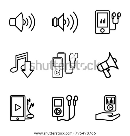 Mp3 icons. set of 9 editable outline mp3 icons such as eating mouth, volume