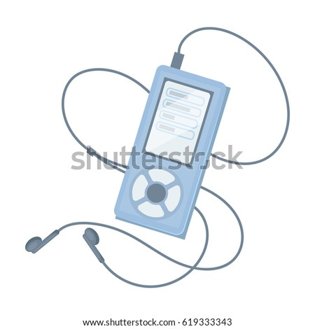 MP3 player for listening to music during a workout.Gym And Workout single icon in cartoon style vector symbol stock illustration.