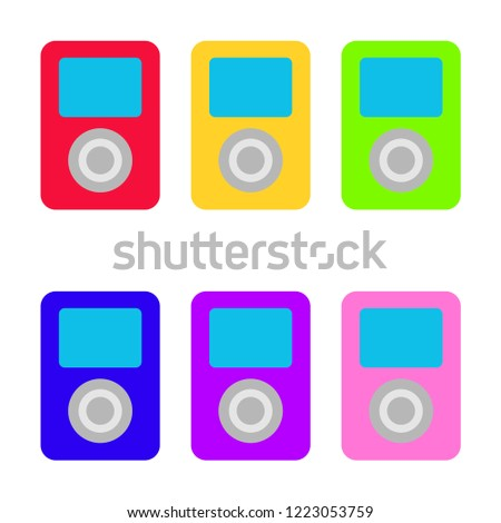 Mp3 player. Multi Colored music players. Music. MP3 White background. Vector illustration. EPS 10.
